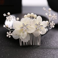 Wholesale Platinum White Hair - New Arrival 2017 Wedding Hair Combs Tiara Diamond Silk Flower Pearl Combs Wedding Hair Accessories Bridal Hair Clip Headdress Bride Headband