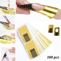 Wholesale Gel Nail Art Sticker - 100pcs roll Nail Art Extension Sticker Guide Form Acrylic Professional Nail Tools Gel Nail Polish Curl Tips For Women