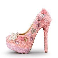 Wholesale flower design stilettos for sale - Wedding High Heel Shoes Gorgeous Design Crystal Bridal Dress Shoes Pink Color Pearl Lace Flower Platform Birthday Party Pumps
