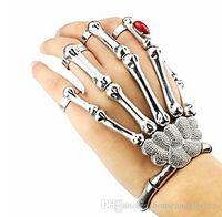 Wholesale Skeleton Hand Bones Bracelet - Christmas Halloween Gift Nightclub Punk Bead Finger Bracelet Gothic Skull Skeleton Bone Hand Finger Bracelet Wholesale
