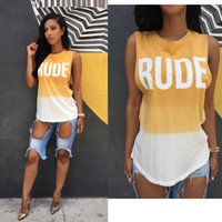 Wholesale Tshirt Tanks Wholesale - Wholesale-S-XL Summer Style Fashion Letter Print RUDE Weekend YELLOW&White Patchwork Top Tee Tshirt Womens Casual Tank T shirts XD597