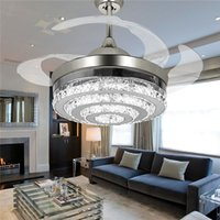 Wholesale White Diamonds Polish - Modern Diamond Chorme Crystal Ceiling Fans light with LED Lights Retractable 4 Blades Pendant Lights 42 inch Fans Chandelier for Living Room