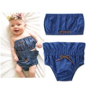 Wholesale Denim Baby Rompers - Everweekend Baby Girls Denim Rompers Outfits Tops and Underwear 2pcs Sets Vintage Baby Clothing