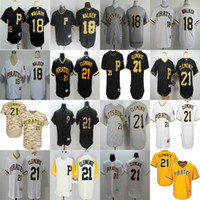 Wholesale Cheap Camo Uniforms - 2017 Men's Pittsburgh Pirates 18 Neil Walker 21 Roberto Clemente Black White Grey Camo Yellow Cheap Throwback MLB Baseball Jerseys Uniforms