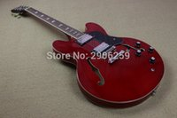 Wholesale Es Jazz - New Hot Sale hollow jazz electric guitar ES 3 hollow body one piece neck red color semi hollow guitar high quality free shipping