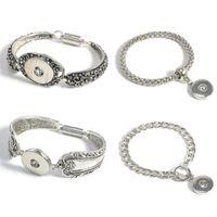 Wholesale Cheap Silver Bracelets For Women - Charm Bracelets Silver Plated Bangle For Men Women Snap Button Bracelet Ginger Snap Jewelry Cheap Cuff Bangle metal Snap Bracelet