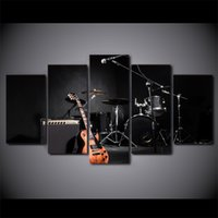 Wholesale Music Paintings Canvas - 5 Pcs Framed HD Printed Music Guitar Drum Instrument Canvas Painting Wall Art Prints Home Decor For Linving Framed Art Picture