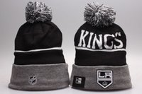 Wholesale Los Angeles Beanie - 2017 New Arrival Los Angeles Kings Knit Beanies Black Grey Color Quality Winter Cap Skullies Ice Hockey LA Pom Embroidery Cuff Caps