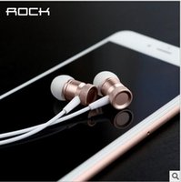 Wholesale Ofc Wire - ROCK RAU0511 OFC Oxygen Free Copper Wire Mobile Phone Universal Ear Earphone Headset Light Wave Stereo Inline Wired Earphone