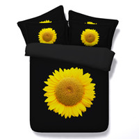 Wholesale Sunflower Cotton Duvet Set - Fashion Black Yellow Sunflowers 3D Printed Bedding Sets Twin Full Queen King Size Bedspreads Bedclothes Duvet Covers Pillow Shams Comforter