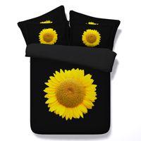 ingrosso stampanti giallo di stampa-Moda nero giallo girasoli 3D stampato set di biancheria da letto Twin completo regina king size copriletto copriletto biancheria da letto copripiumino cuscino cuscini shams consolatore