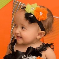 Wholesale Headband Tulle - 3 PCS tulle flower with pearl and rhinestone   Halloweeen festival
