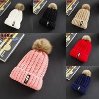Wholesale Womens Fur Wool Hat - Winter Fashion Beanie Womens Ladies Unisex Tight Wool Knitted Fur Pom Hat Warmer Headgear Headdress Top Quality Girls Cap
