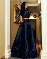 Wholesale Sexy See Through Dress Model - Modest Black Long Sleeve Lace Evening Dresses Two Pieces Jewel See Through Back Satin Celebrity Party Dresses Evening Wear Sexy Prom Gowns