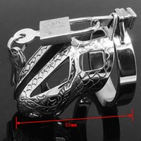 Wholesale Dragon Penis Sleeve - Dragon Totem 65mm Male Chastity Device Special Belt Stainless Steel Penis Sleeve Sex Toy Products Metal Adult Game Cock Cage ring MKC010