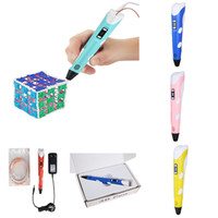 Wholesale Designer Drawing - 3D Printing Pen With Free Filament For Designers Drawing 3D air pen 3D Stereoscopic Printing Pen similar with 3doodler In stock Freeshipping