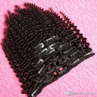 Wholesale Clips For Hair Weft - 100% Brazilian Virgin 6a Grade Remy Human Hair Afro Kinky Curly Clip In Hair Extensions 7PCS Set 110G Clip Ins Weave for 1 piece