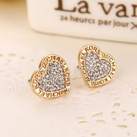 Wholesale Gold Rhinestone Numbers Letters - New Fashion Letters Print Crystal Contracted Earrings Loving Heart Alloy Stud Earrings Gold Silver Rose Gold