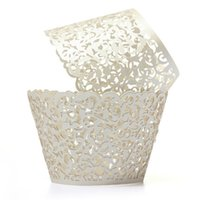 Wholesale Cupcake Wrappers Wholesale - Wholesale- ShanghaiMagicBox 12 X Laser Cut Lace Wedding Cup Cake Paper Wraps Holds Cupcake Wrapper Decor 41115006
