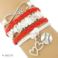 Wholesale I Heart Bracelets Wholesale - (10 pieces  lot) Infinity Love I Love Baseball Soccer Softball Tennis Football Bracelet Heart To Heart Charm Bracelet Leather Custom Bracele