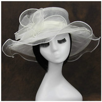Vente en gros 10pcs Hot Summer Women Lady Kentucky Derby Église nuptiale mariage Organza Hat Hat Brim