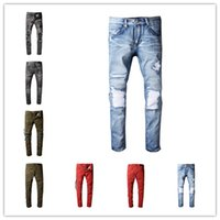 Wholesale Leather Jeans Men Skinny - High Quality 2017 Biker Jeans With Zipper Skinny Motorcycle Amiri Ripped Jeans For Men Leather Knee Detail size 28-42