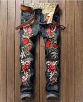 Wholesale Italian Style Lighting - Italian luxury Rose Embroidered Jeans 2017 New Designer Men Jeans Famous Brand Slim Fit Mens Printed Jeans Biker Denim Pants
