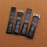 Wholesale 22mm Genuine Crocodile Watch Strap - High Quality new Watchband Crocodile pattern genuine leather red stitched 20mm 22mm 24mm black watch accessories bracelet watch strap band