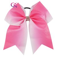 """Wholesale Ponytail Pink Bows - 10 Pcs lot 7"""" Glitter Pink Cheer Bow With Ponytail Glitter Pink Grosgrain Ribbon Cheerleader Bow For School Girl"""