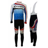 Wholesale Cube Jersey Bib - 2014 Cube Long Sleeve Cycling Jersey And Bib Pants Set bike clothing 2015 Hot Sale cycling clothes Winter cycling suit ccc