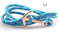 Wholesale Paracord Hooks - 2pcs lot sailing anchor paracord Bracelets Fashion Female male bracelet With silver golden Anchor Hook Bracelet for Men women