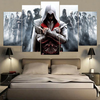 Wholesale Canvas Hd Paintings - Unframed 5 Pieces Game Assassins Creed Characters Paintings On Canvas HD Print Wall Art Modular Picture For Kids Room Drop Shipping