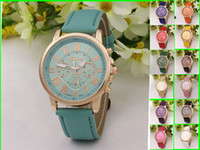 Wholesale Geneva Digital Watches - Hot Sale Fashion Colorful Lady Geneva Leather Silicone Watch Women Men Teens Girl Watches Casual Sport Brand Wristwatches
