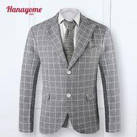 Wholesale Notch Collar Slim Fit Suits - Wholesale- 2016 Custom Slim Fit Light Grey Plaid Dress Casual Blazers Notch Lapel Groom Tuxedos Shawl Collar Men Suits Man Suit Jacket SI9