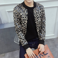 Wholesale leopard print jacket mens - Wholesale- Autumn Mens Jacket Fashion Sexy Leopard Printed Men Coat Jackets Plus Size Slim Fit Casual Windbreaker Outwear 5XL-M 2colors Hot