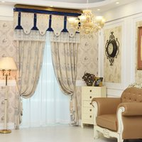 Wholesale Door Hotel - High-end blue luxury European Window Blackout Curtain for Living Room Hotel Bedroom jacquard cashmere imitation wholesale fabric price