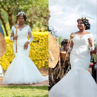 Wholesale Long Barato - African Illusion Long Sleeve Plus Size Mermaid Wedding Dresses Lace Beads Tulle Bridal Gowns vestido de noiva barato