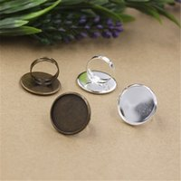 BOYuTe 20Pcs Round 25MM Cabochon Base Ring Silver Bronze Moda Diy Adjustable Ring Setting Jóias Findings