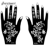 Wholesale Colored Flowers Tattoos - Wholesale-Hot 1 Pair Indian Henna Tattoo Stencil Flower Pattern Design Colored Henna Paste Drawing for Women Body Hands Art 20 * 11cm S131