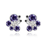 Wholesale Crystal Jewelry For Kids - Animal Jewelry 3 Colors White Gold Color AAA+ Crystal Zircon CZ Cute Butterfly Piercing Stud Earrings for Women Kids Girls