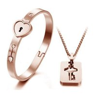 Wholesale Couples Lock Key Bracelet - High quality Couple Jewelry Sets Stainless Steel Love Heart Lock Bracelets Bangles Cross Key Pendant Necklace Couples Gift