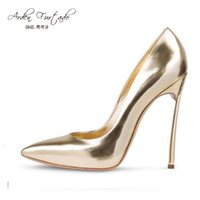Wholesale Champagne Dress Shoes For Weddings - 2017 spring autumn pointed toe high heels 12cm pumps gold silver wedding dress shoes for women slip on woman plain stiletto heel sexy