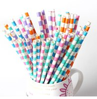 Wholesale Kids Party Cheap Supplies - Wholesale-cheap 25pcs Diagonal stripes paper straw baby Kids Birthday Party Wedding Decoration Paper Drinking Straws party supplies