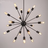 Wholesale satellite work resale online - Creative lighting industrial wind retro personalized restaurant lamp bar study long multi satellite Iron office work Chandelier Cafe lights