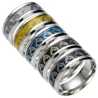 Wholesale Dolphin Design Jewelry - 2017 Hot Sale Stainless Steel Rings Mens Rings Titanium Steel Jewelry Dolphin Design Stainless Steel Ring Men 5 Styles 8 Sizes