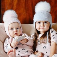 Wholesale Earflap Crochet Ball Baby Hat - Baby Hat Winter Pearl Girls Cap Artificial Fur Ball Baby Boy Hats Infant Earflap Caps Wool Knitted Children's Hats Caps