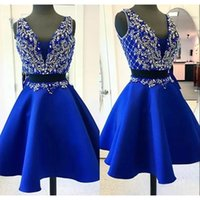 Wholesale Teens Sexy Cocktail Dress - Sexy Royal Blue Cocktail Dresses For Party V-Neck Two Piece Luxury Crystal Beaded Short Prom Dress Teens Formal Gowns Cheap Homecoming Dress