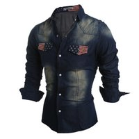 Wholesale Mens Slim Fit Denim Shirt - Wholesale- 2016 New Fashion Mens Jeans Shirt Dress Long Sleeve Spring Autumn Casual Slim Fit Male Denim Shirts Union Jack Camisa Masculina