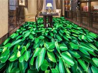 pisos de vinilo verde al por mayor-Papel tapiz de lujo Pisos 3d Pisos personalizados 3d Flores y plantas Plantas verdes mural Papel tapiz de vinilo Papel tapiz salón