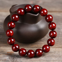 Wholesale Sandal Wood Bracelet - Genuine Lobular Red Sandal Wood Bracelets 12mm Handmade Buddhism Prayer Beads
